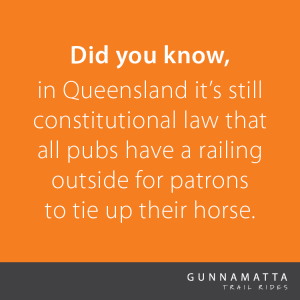 Did you know, in Queensland it's still constitutional law that all pubs have a railing outside for patrons to tie up their horses